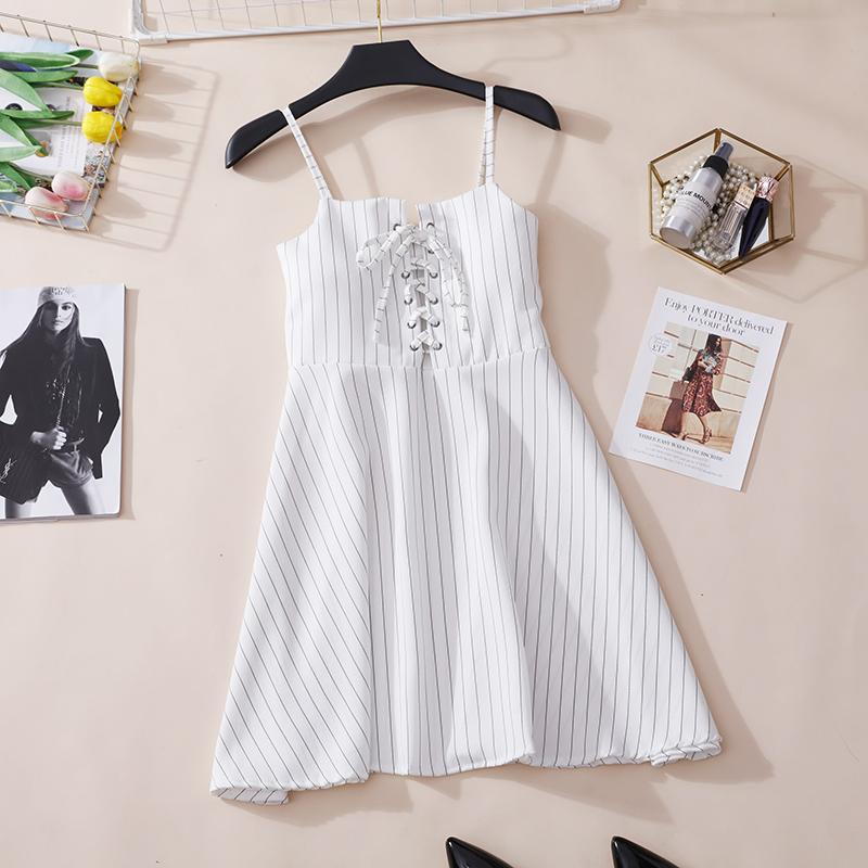Fashion Striped Suspender Dress