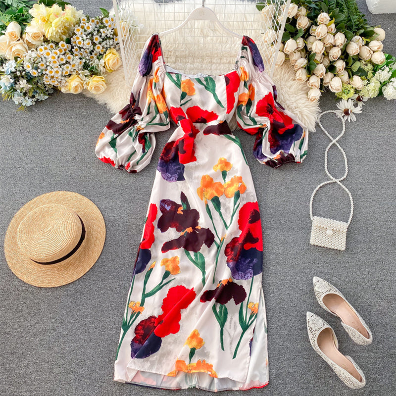 Retro Square Neck Puff Sleeve Midi Dress