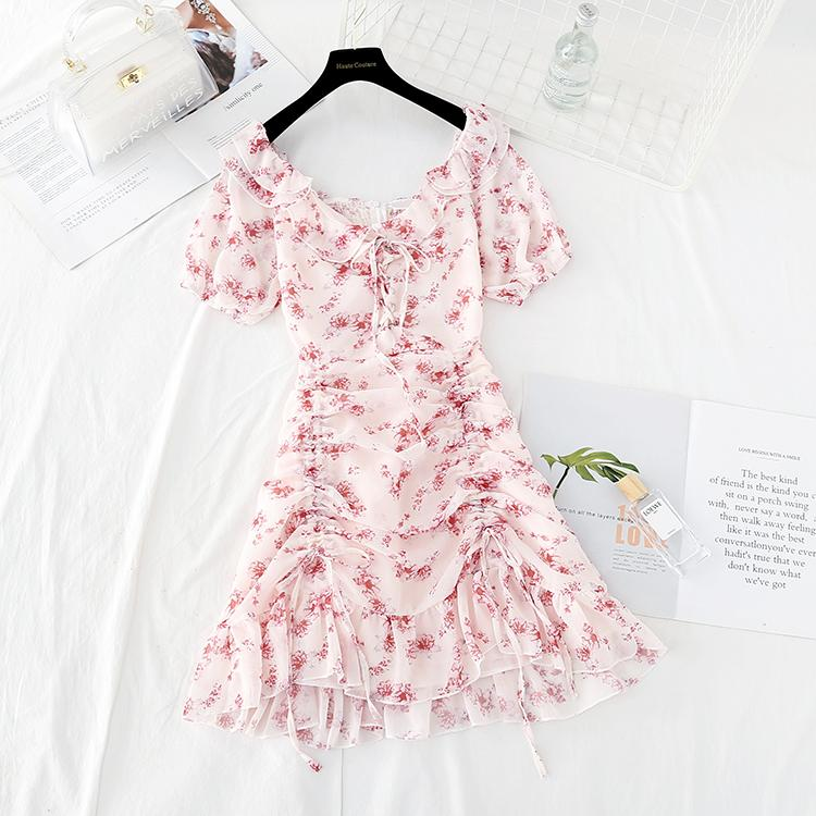 Sweet V-neck Floral Chiffon Dress