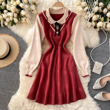 Load image into Gallery viewer, Sweet Doll Collar Stitching Dress