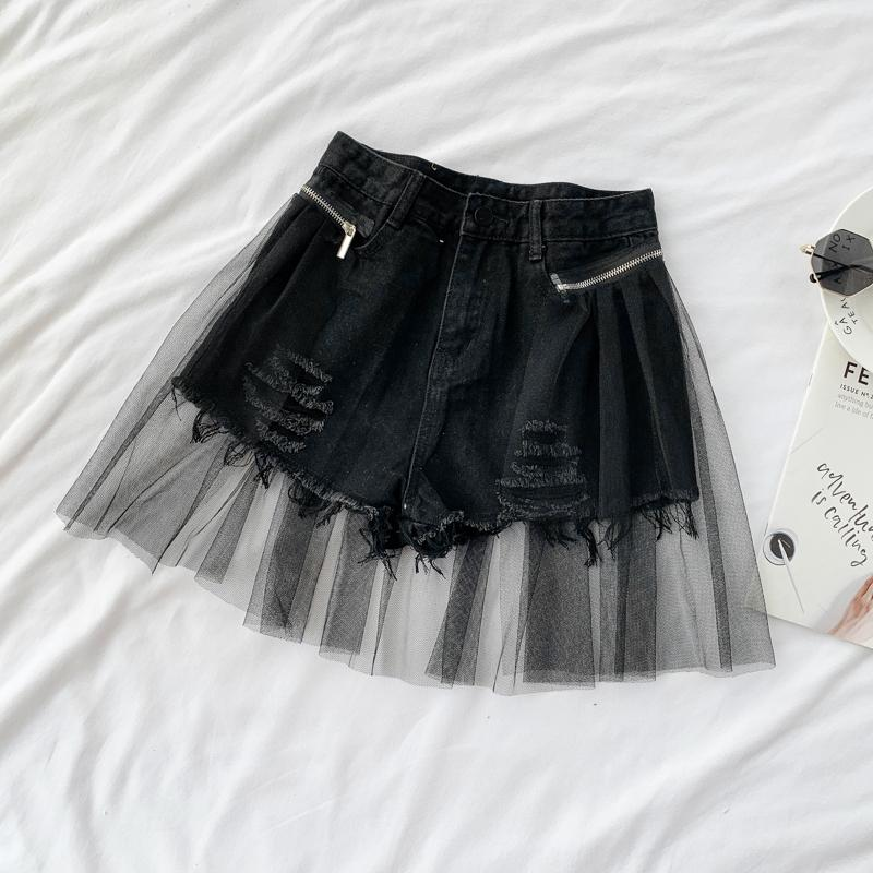 Irregular Mesh Stitching Ripped Shorts