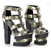 Load image into Gallery viewer, Camouflage Strange Heels Wedges Sandals