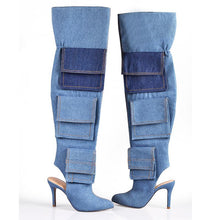 Load image into Gallery viewer, ZAVARAS Denim Pocket Thigh High Boots
