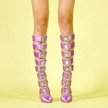 Load image into Gallery viewer, Diamond Rhinestone Over the Knee Sandals