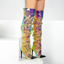 Load image into Gallery viewer, Cherry Shiny Matellic Over The Knee Boots