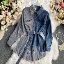 Load image into Gallery viewer, Long Sleeve Patchwork Denim Blouse