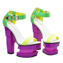 Load image into Gallery viewer, Serect Out Neon Strange Heels Wedges Sandals