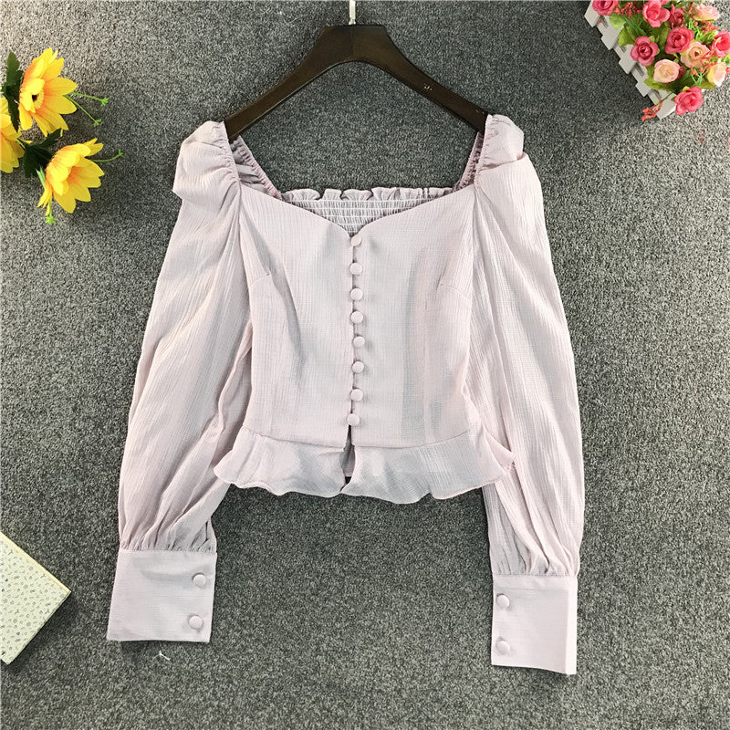 Square Neck Puff Sleeve Short Blouse