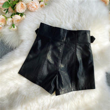 Load image into Gallery viewer, High Waisted PU Leather Shorts