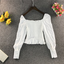 Load image into Gallery viewer, Square Neck Puff Sleeve Short Blouse