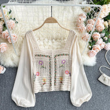 Load image into Gallery viewer, Chiffon Patchwork Knit Loose Tee