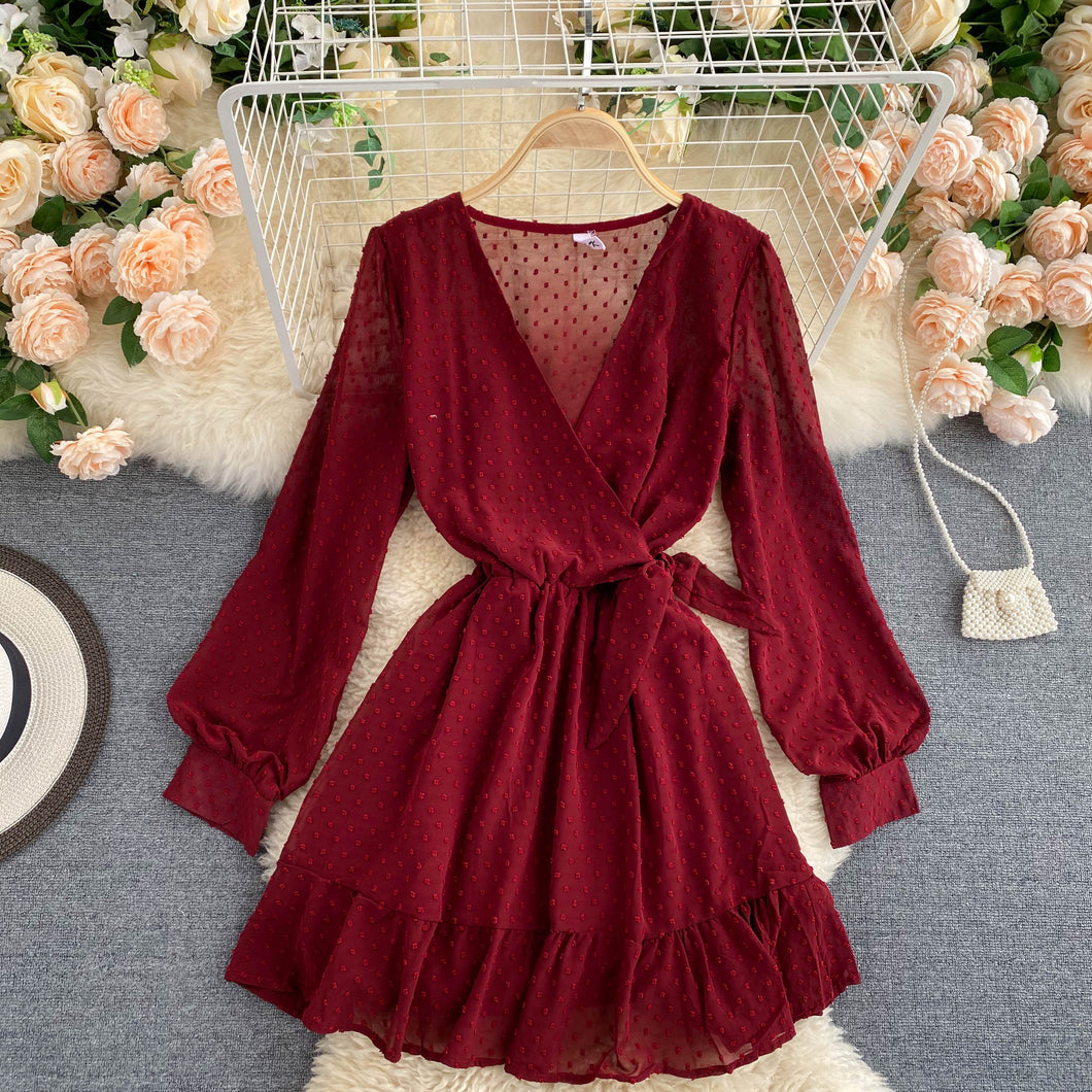 Temperament V-neck Chiffon Dress