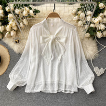 Load image into Gallery viewer, V-neck Puff Sleeve Chiffon Shirt