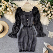 Load image into Gallery viewer, Flared Sleeve Plaid Stitching Dress