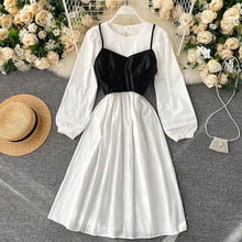 Load image into Gallery viewer, Fashion Puff Sleeve Dress + Camisole Set