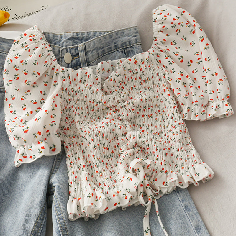 Floral Drawstring Pleated Shirt