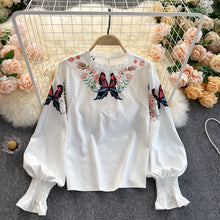 Load image into Gallery viewer, Puff Sleeve Butterfly Embroidered Shirt