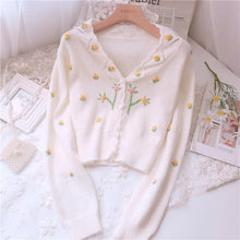 Load image into Gallery viewer, Small Fresh Embroidered V-neck Cardigan