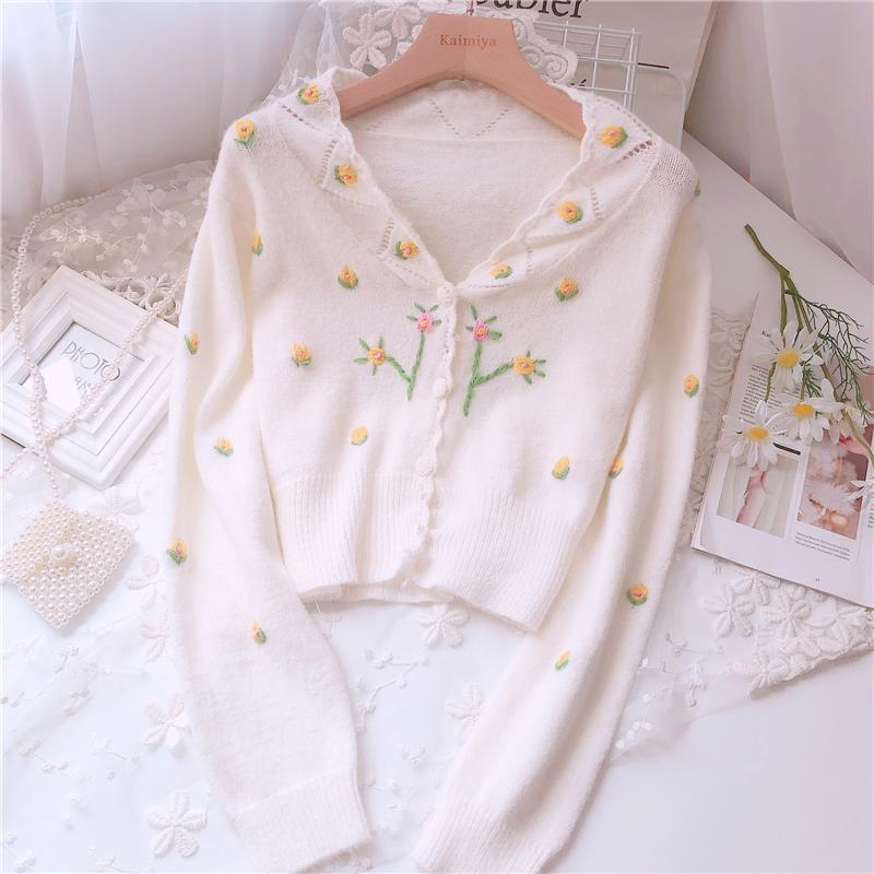 Small Fresh Embroidered V-neck Cardigan