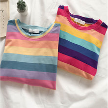 Load image into Gallery viewer, Fashion Rainbow Stripes T-shirt
