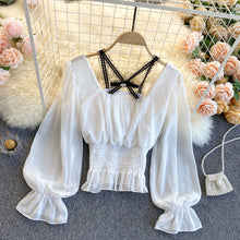 Load image into Gallery viewer, Fashion Lace Stitching Chiffon Shirt