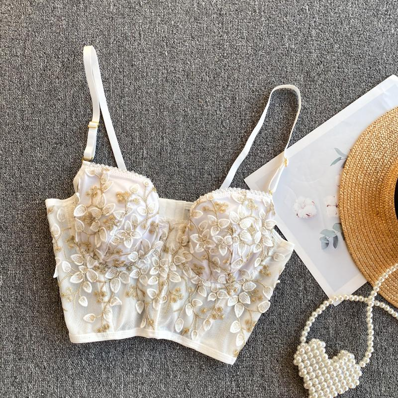 Vintage Embroidery Petal Tank Top