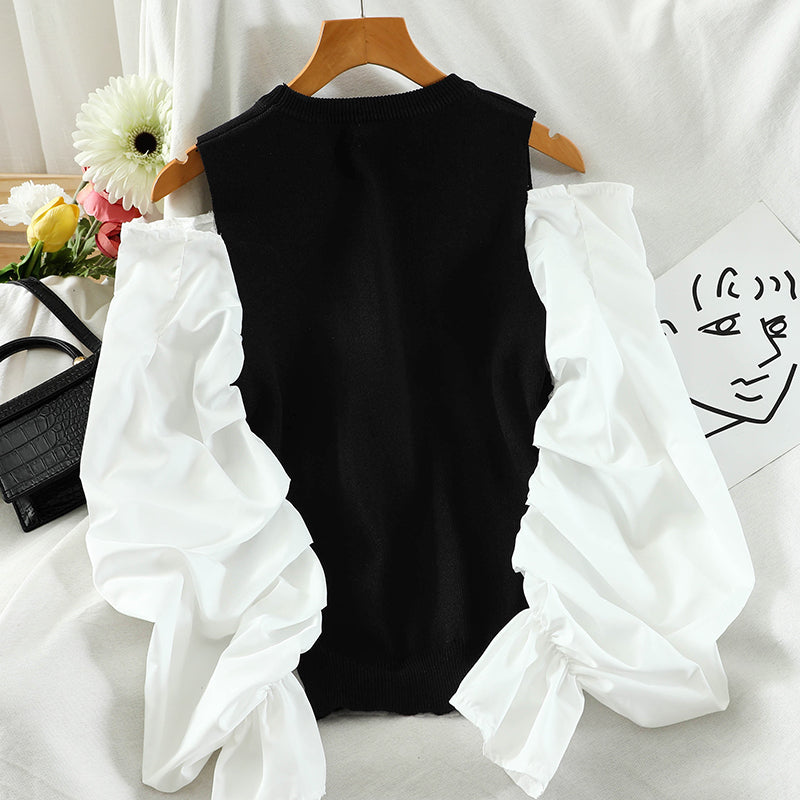 Fashion Pleated Puff Sleeve Shirt