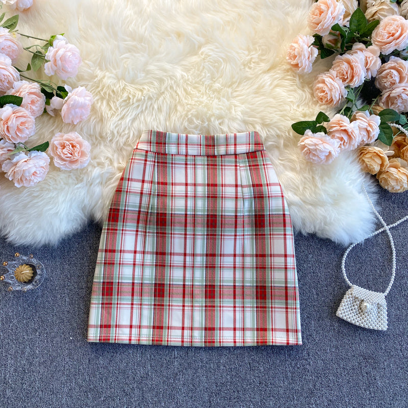 Fashion Color Matching Plaid Skirt