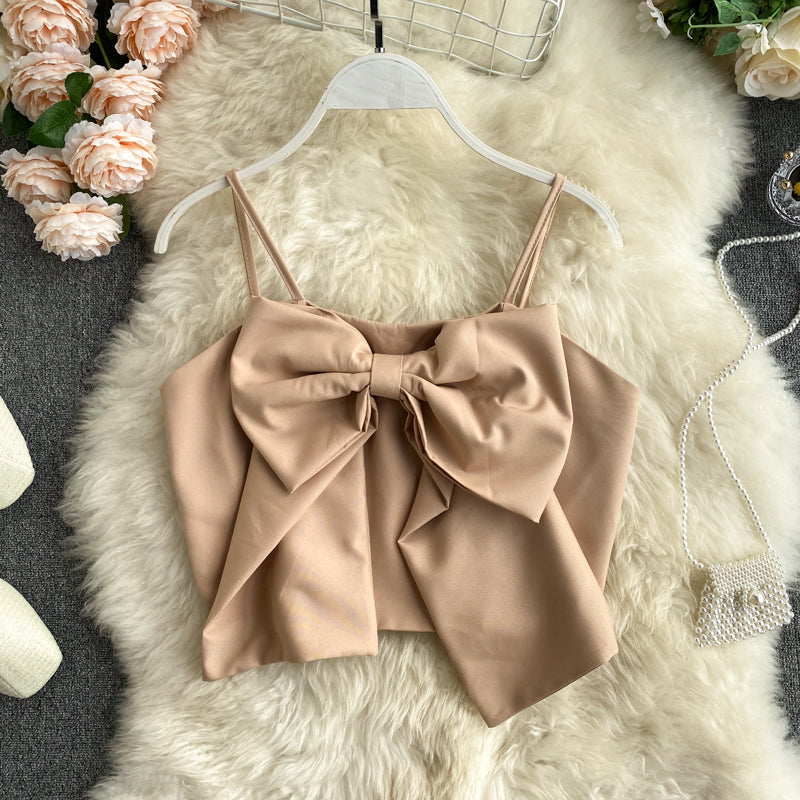 Sweet Bow Navel Tank Top