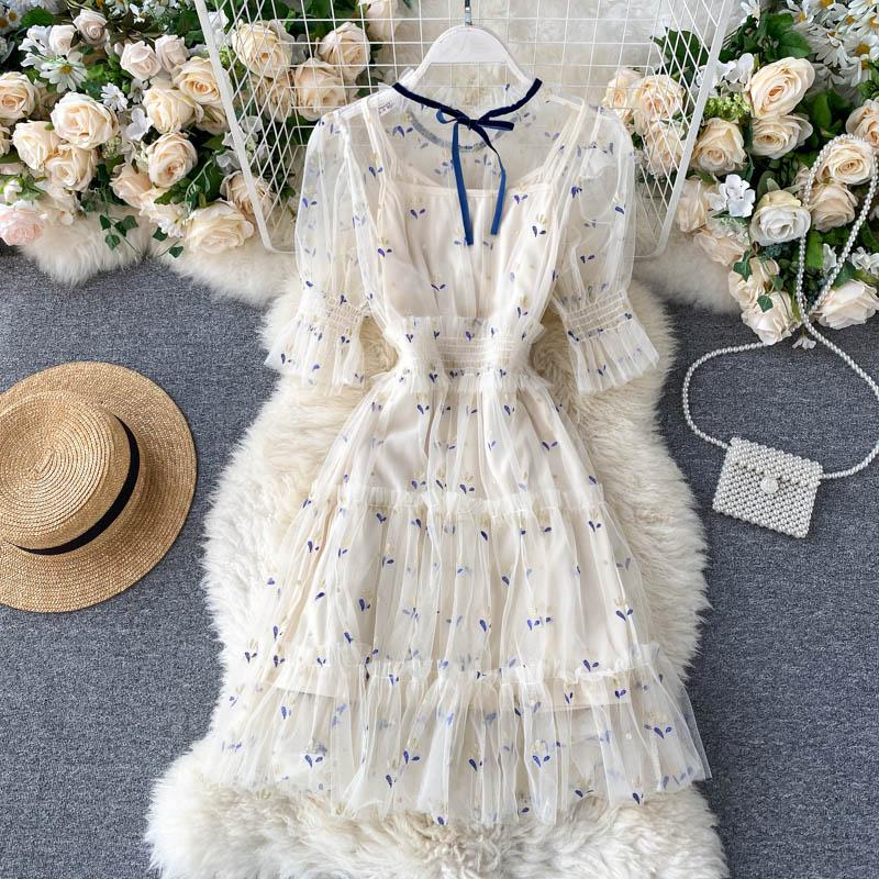 Sweet Mesh Print Midi Dress+Sling Dress Set