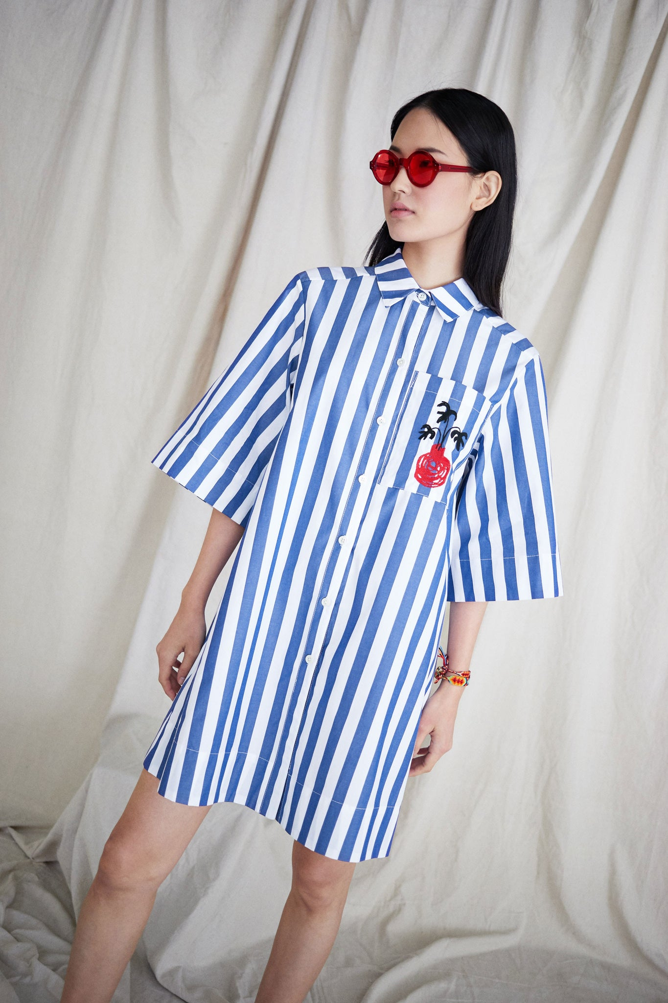 Beau Dress in Blue and White Vertical Stripes