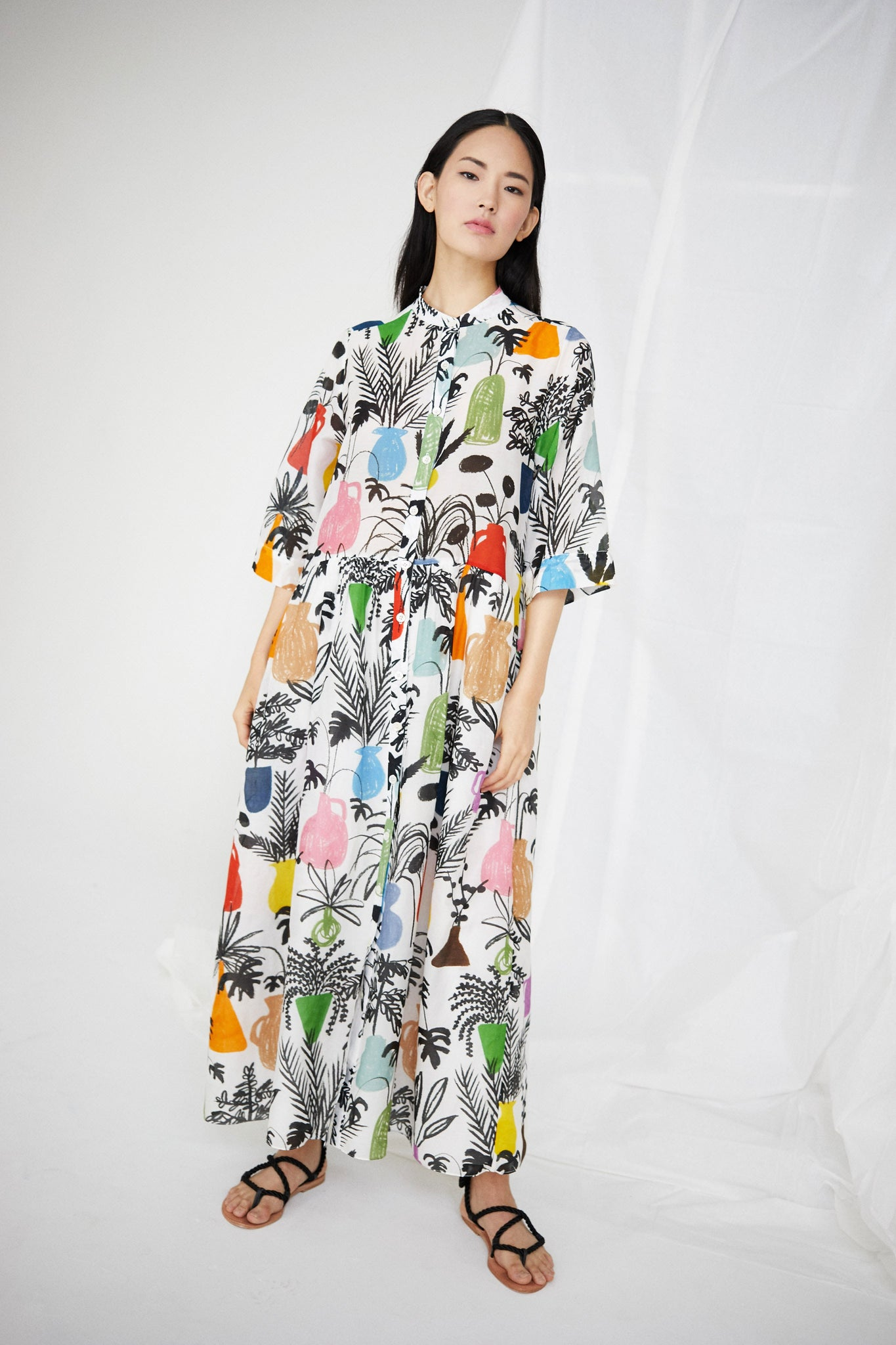 Lillian Dress in Potted Plant Print