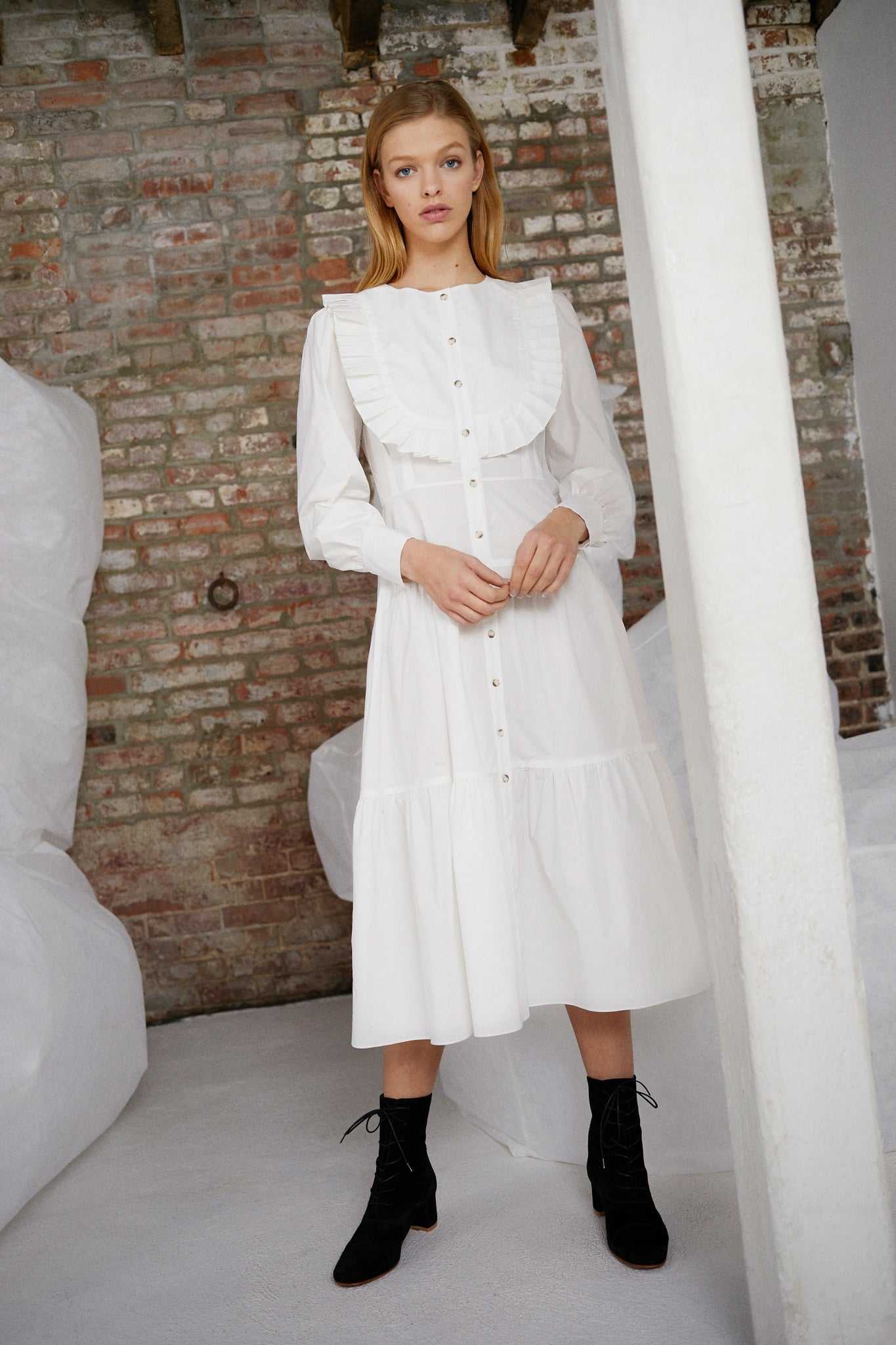 Barrett Dress in White Poplin