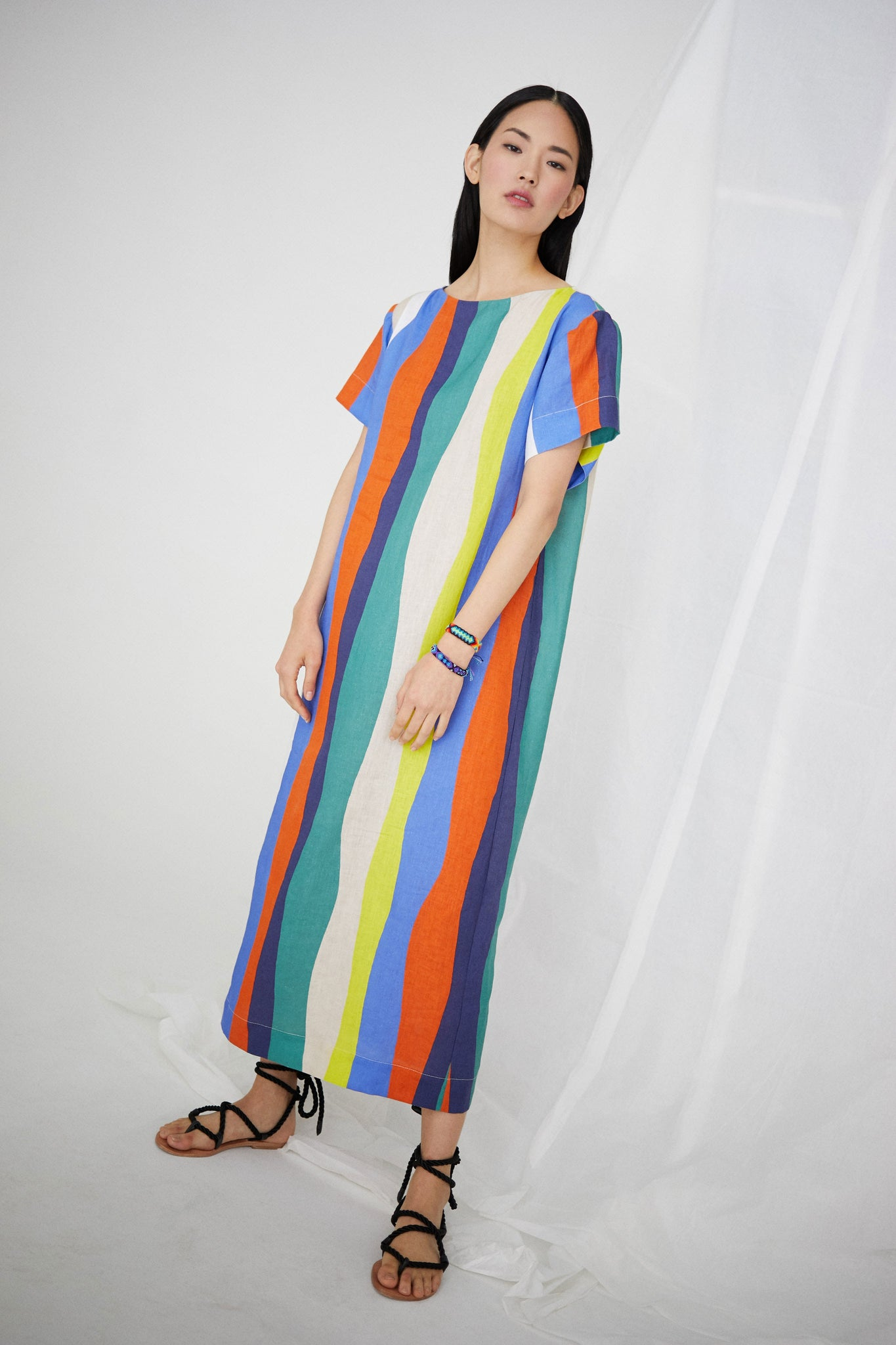 Sonora Dress in Large Wavy Stripes