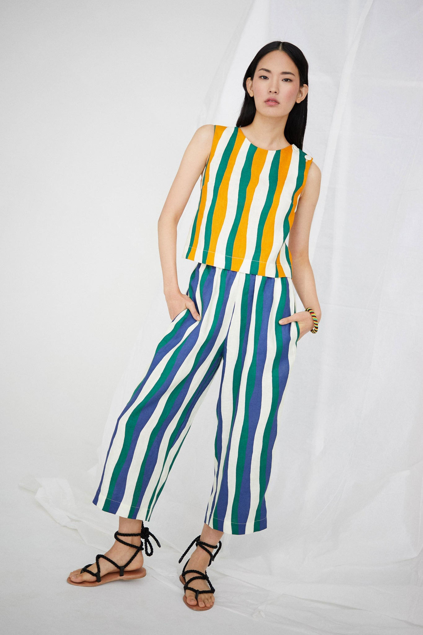 Desi Pant in Wavy Stripes