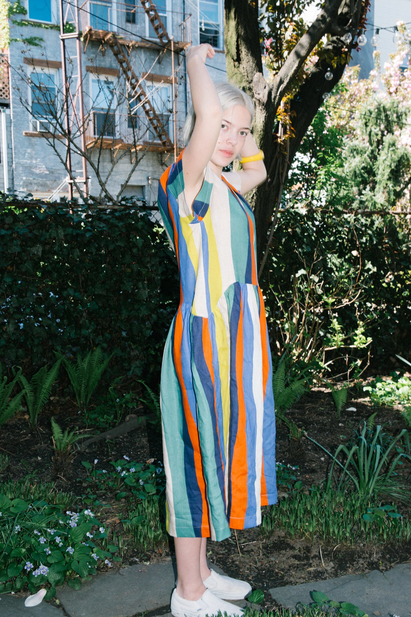 Catalina Dress in Rainbow Multi Stripe