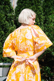 Mira Dress in Potted Plant Print Orange/Pink
