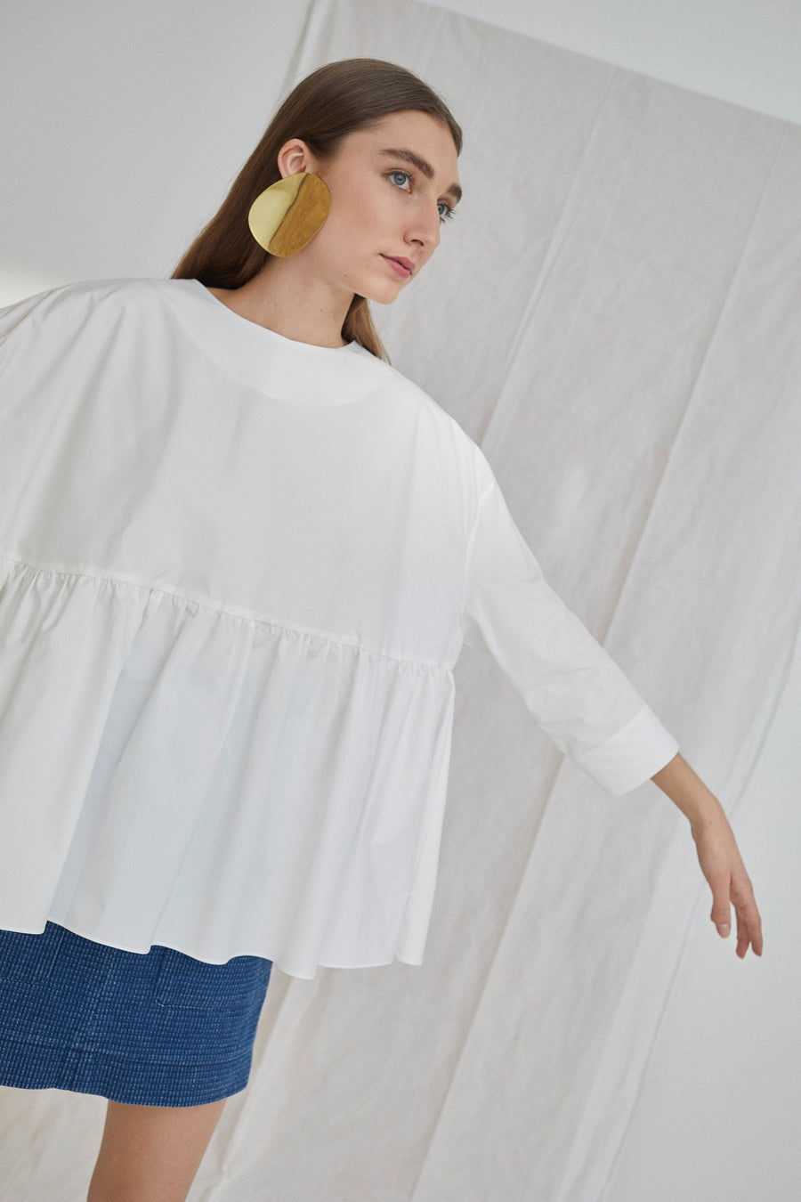 Dalia Top Solid Poplin White