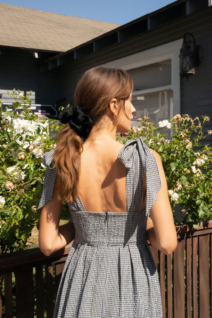 Ribbon Dress in Embroidered Gingham