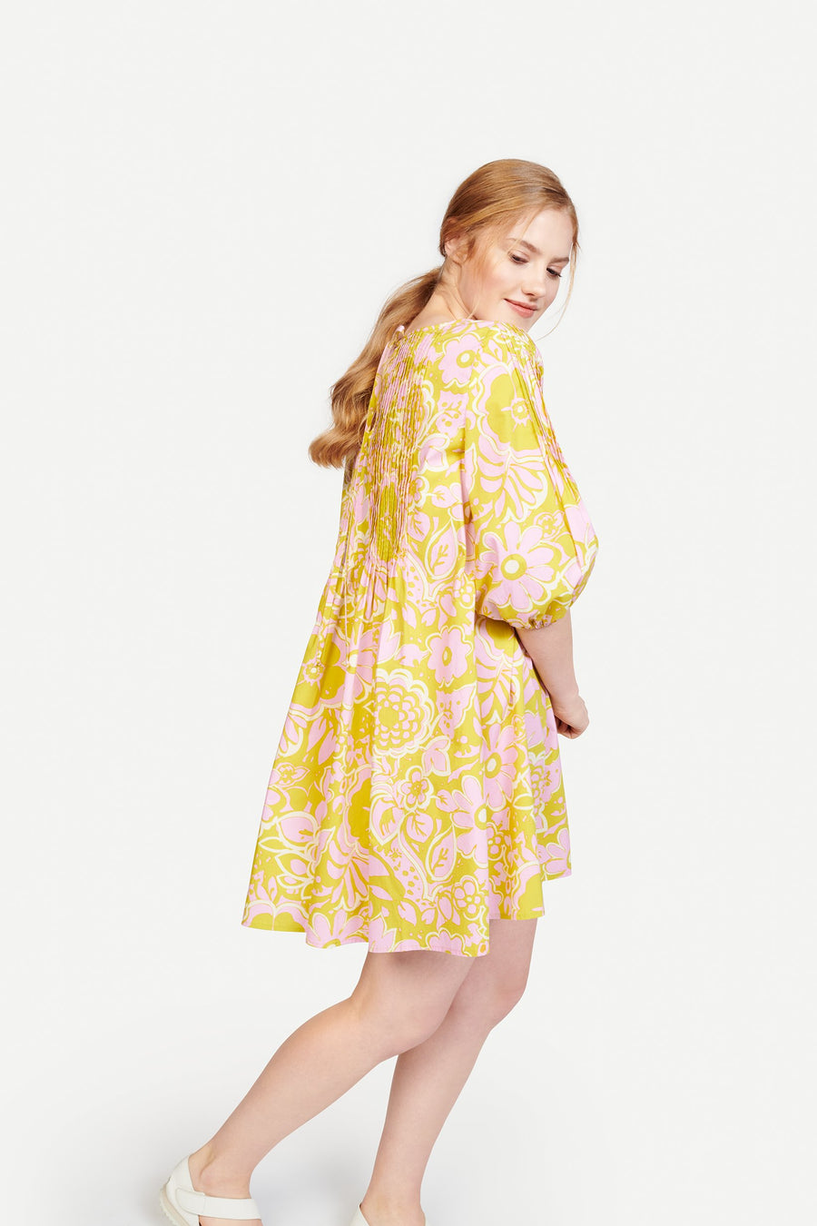 Pintuck Dress in Ashbury Floral Pink/Green