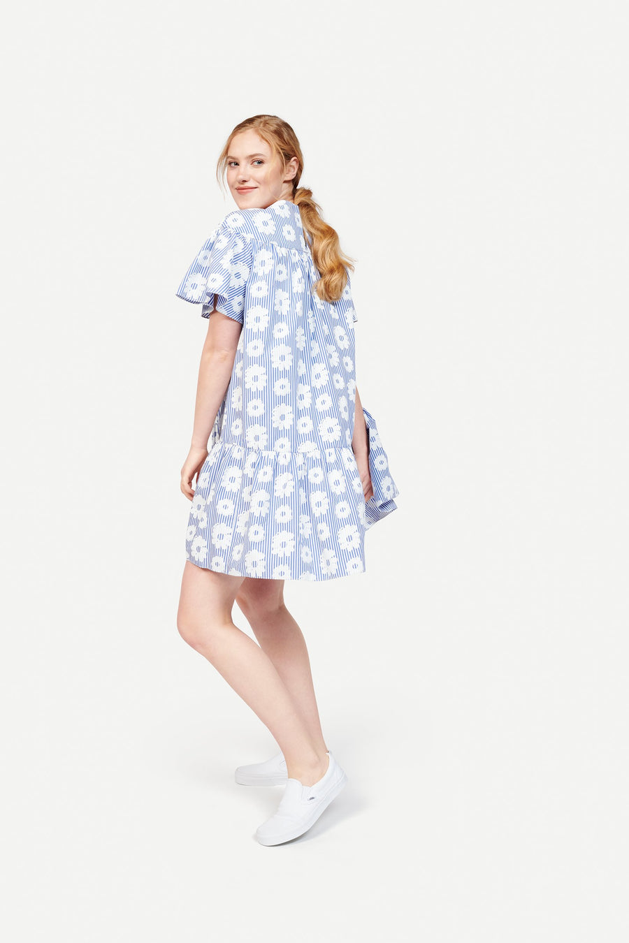 Carly Dress in Daisy on Stripe Blue/White