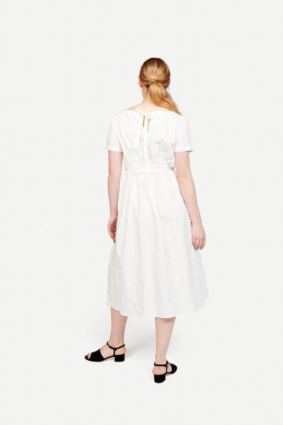 Tori Dress in White Jacquard Dot