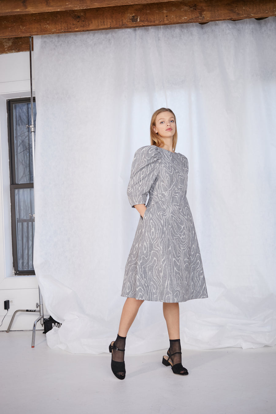 Pru Dress Glen Check Wood Grey