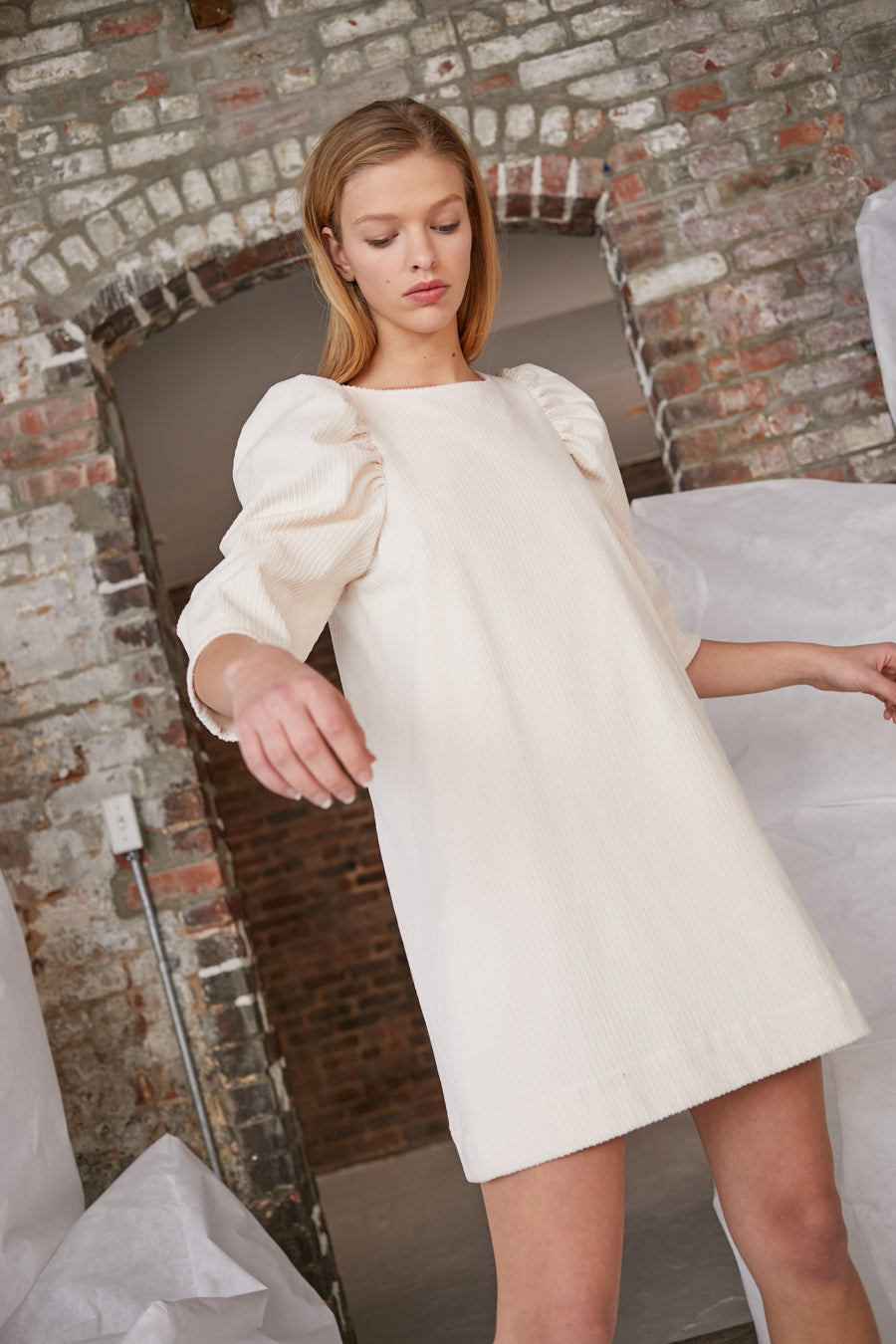 Clare Dress in Ivory Corduroy