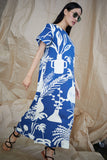 Sonora Dress in Potted Plant Print Blue/White