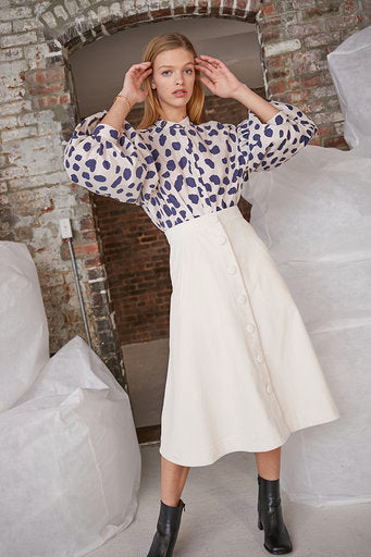 Evie Skirt in Ivory Corduroy