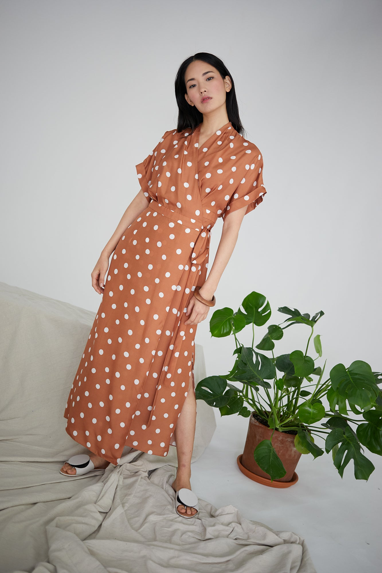June Dress in Brown/Ivory Polka Dots