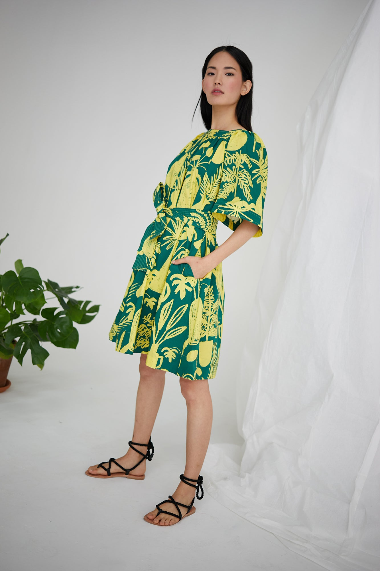 Mira Dress in Potted Plant Print Green/Yellow