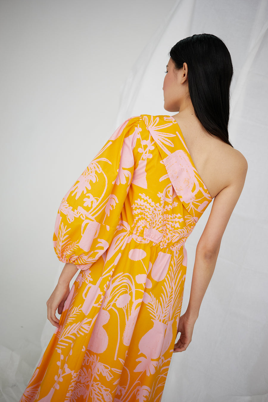 Paige Dress in Potted Plant Print Orange/Pink