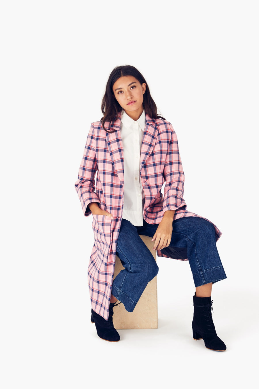 Parker Coat in Sherbet Pink Plaid